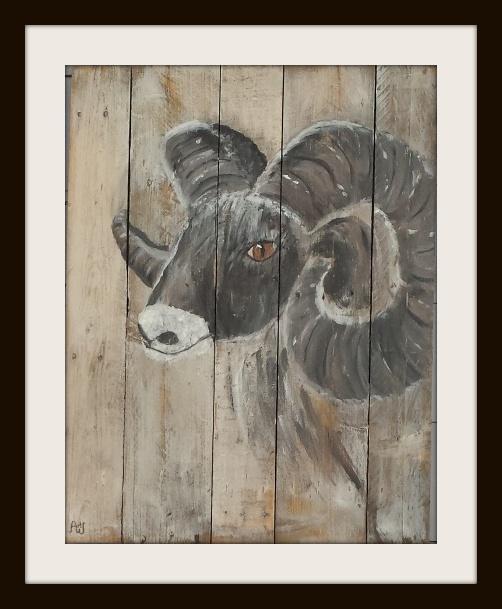Bok. Acryl op sloophout. 81*61 cm. Verkocht/sold
