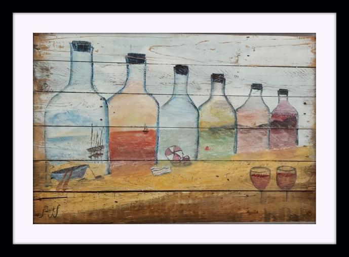 Bottled Seas. Acryl op sloophout. 90*60 cm