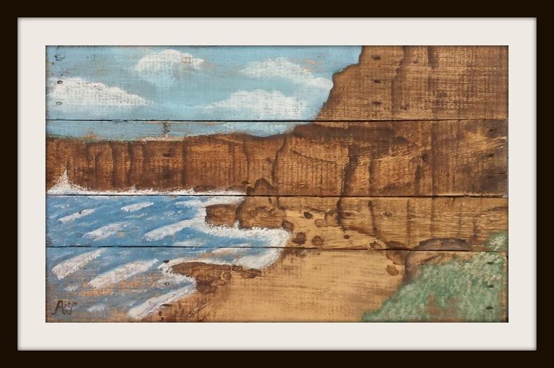 Coastline. Acryl op sloophout. 55*90 cm