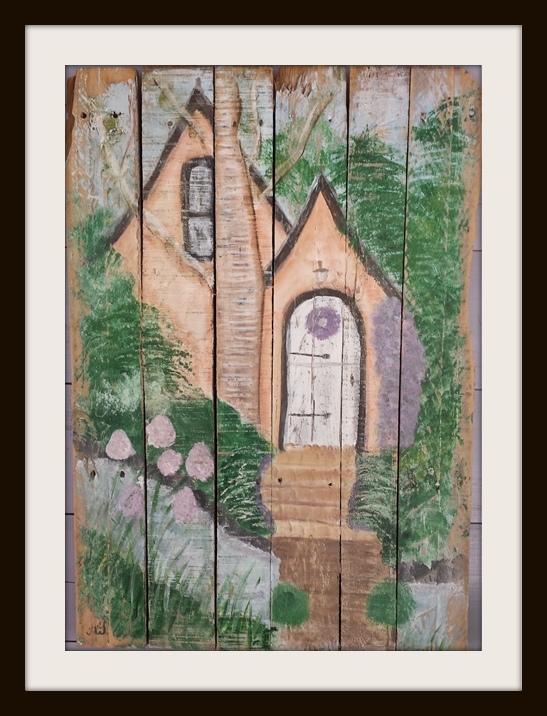 Fairytale house. Acryl op sloophout. 83*57 cm