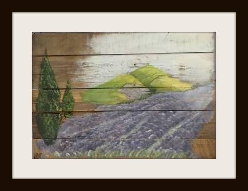 Lavandou. Acryl op sloophout. 60*90 cm. Verkocht