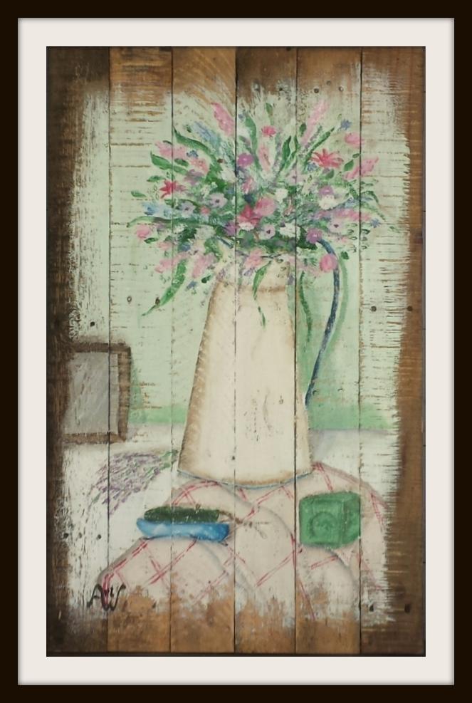 Fleurs, acryl op sloophout. Afm 98*61 cm.