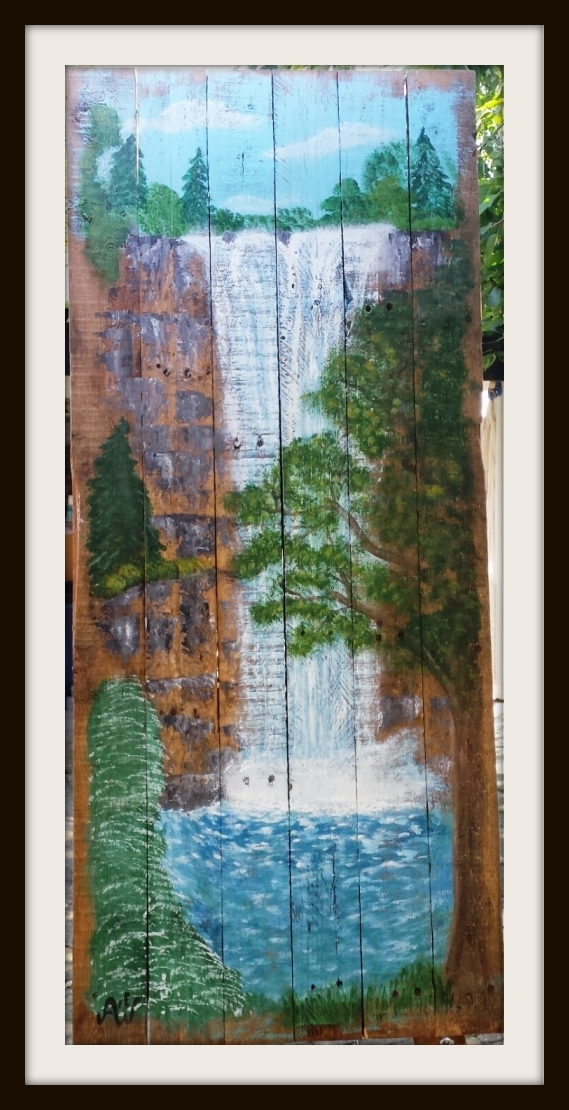 Water falls. Acryl op sloophout. 140*60 cm