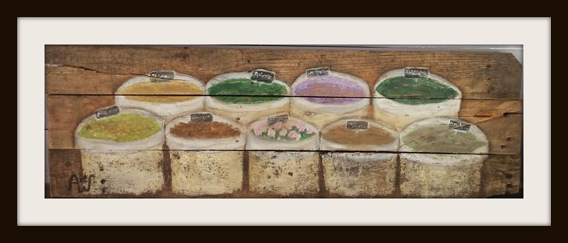 Herbs. 100*35 cm. Acryl op sloophout. Verkocht/sold