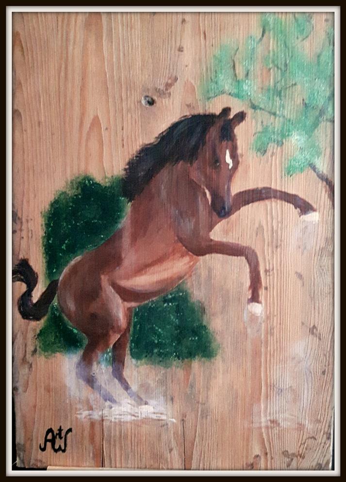 I don't want to, acryl op oude kaasplank. 38*53 cm