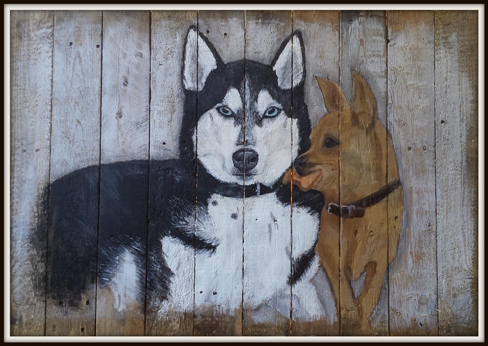 Kalluk en Max, dikke vrienden, combinatie van 2 foto's