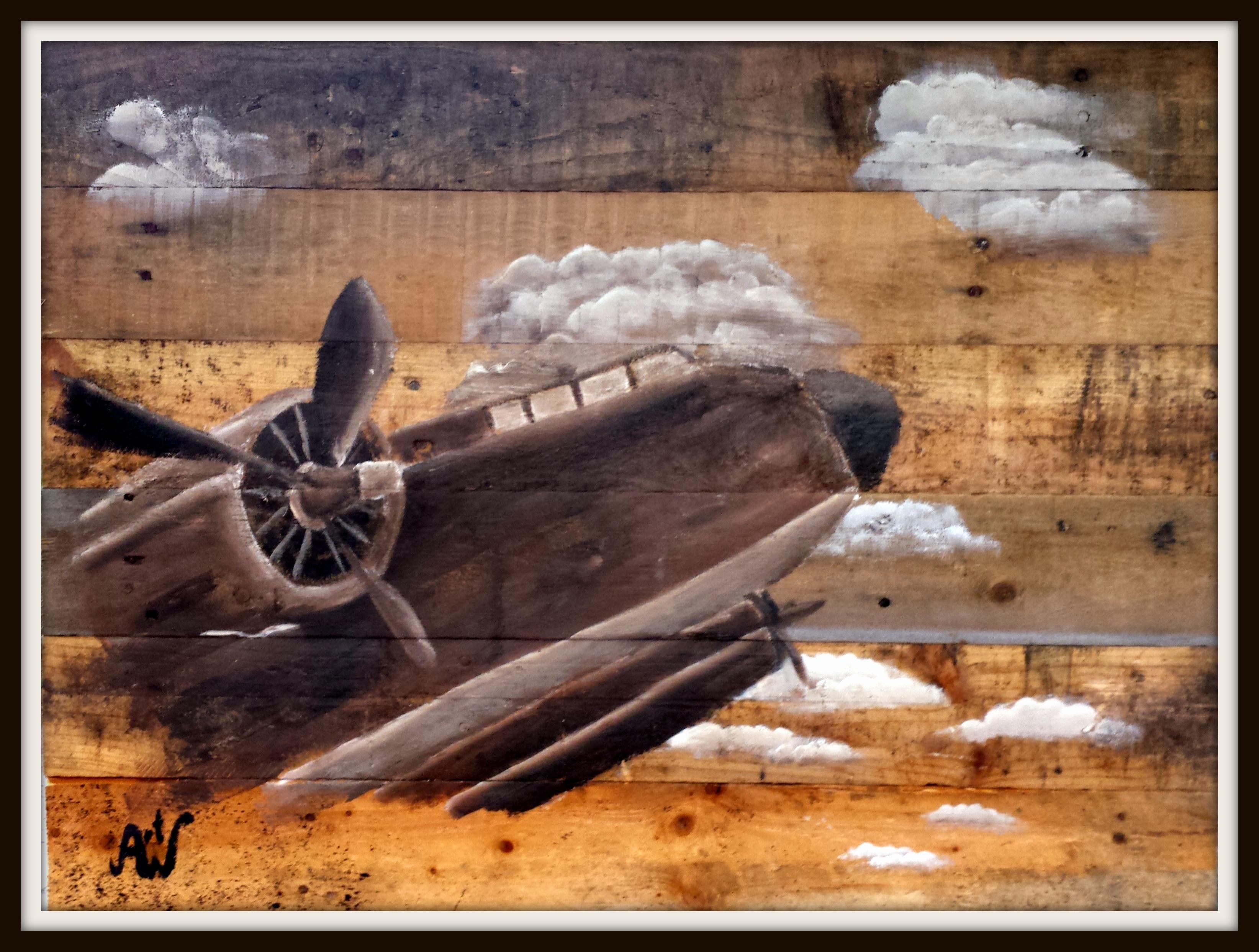 Airplane, 60*80 cm. Acryl op sloophout. Verkocht/sold
