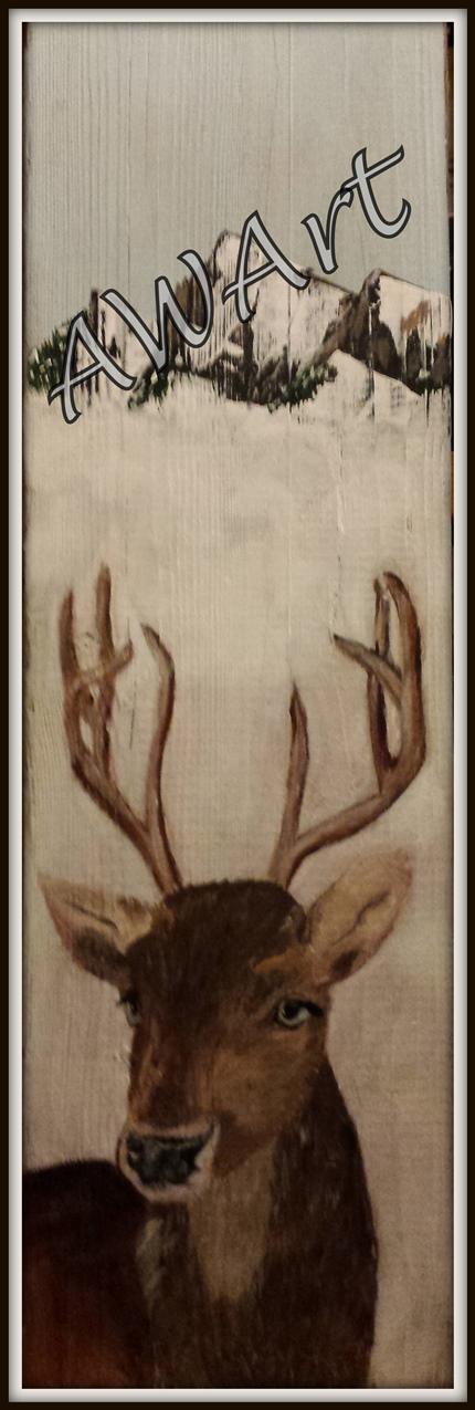 hert, acryl op oude kaasplank. Verkocht/sold