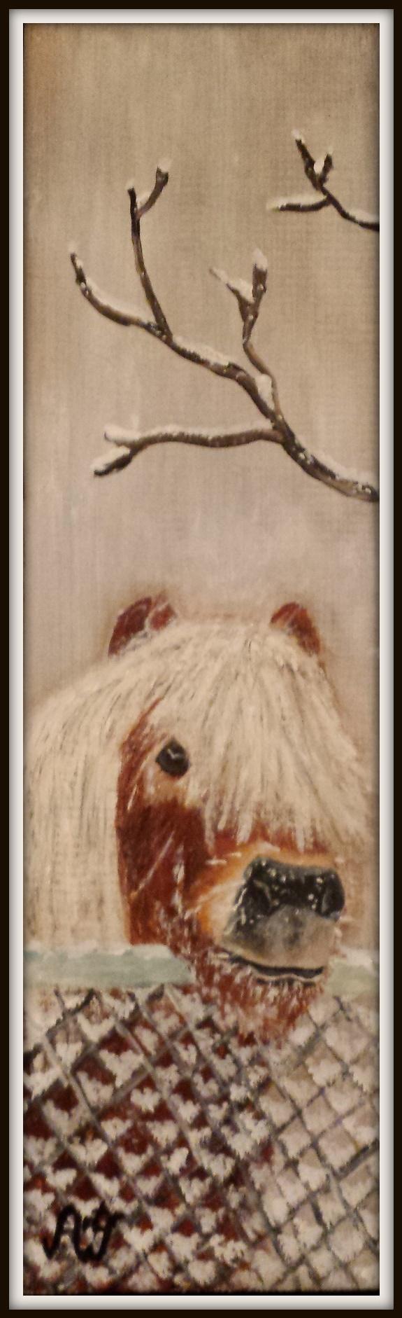 'Koud he?', acryl op oude kaasplank. afm 15*40 cm