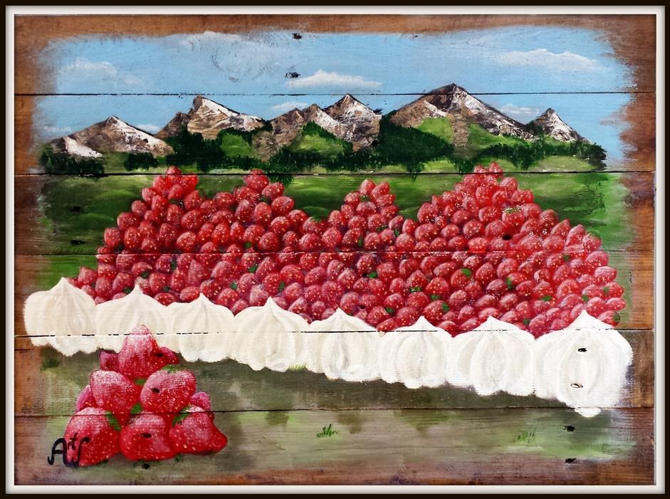 Strawberry hills, acryl op sloophout. afm 80*60 cm