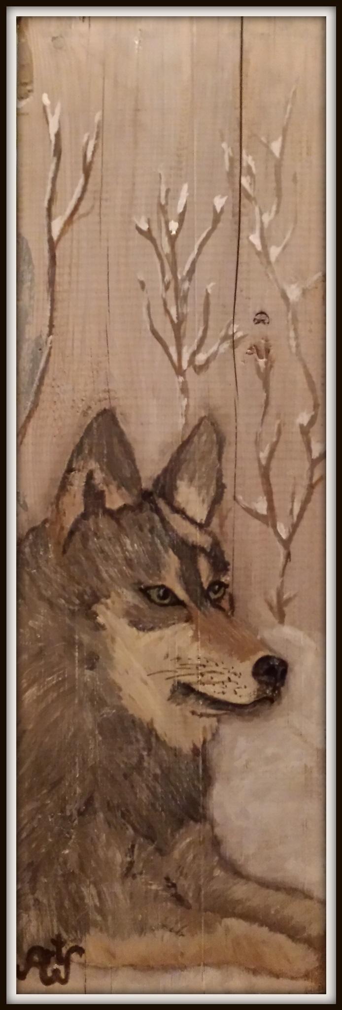 Wolf, acryl op oude kaasplank. Verkocht/sold