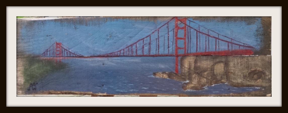 Golden Gate. Acryl op sloophout. 84*25 cm.