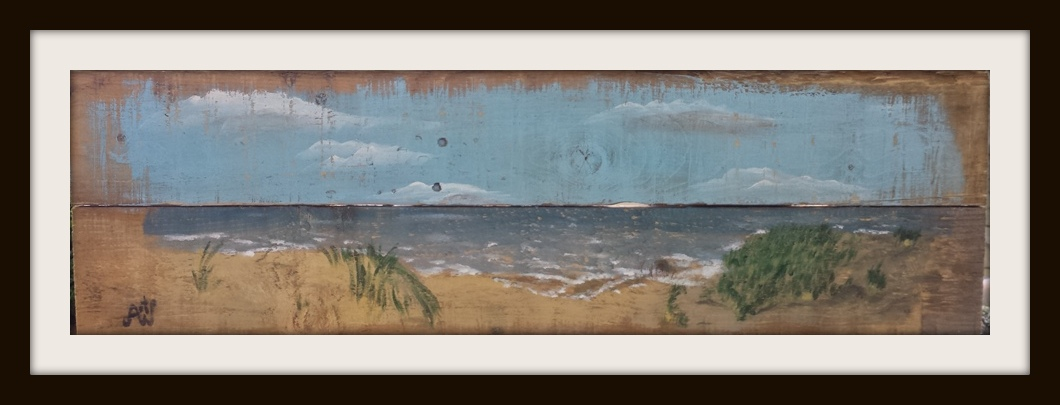 Nederlandse kust. Acryl op sloophout. 84*25 cm. Verkocht/sold