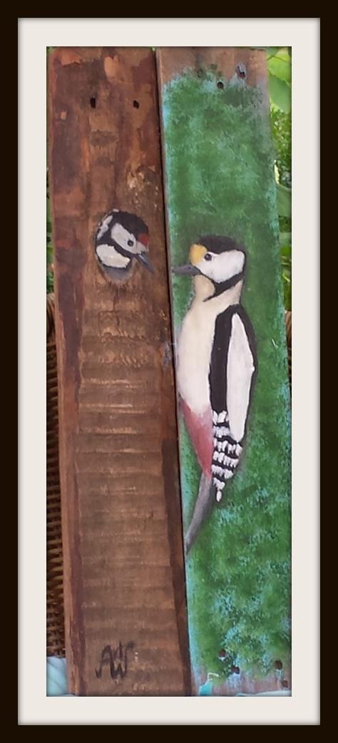 Woodpecker. Acryl op sloophout. 60*21 cm. Verkocht/sold.