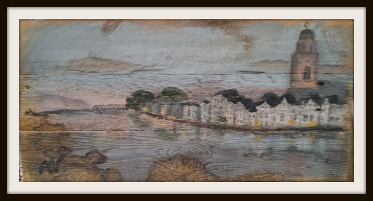 Deventer Skyline, acryl op sloophout. 60*29 cm
