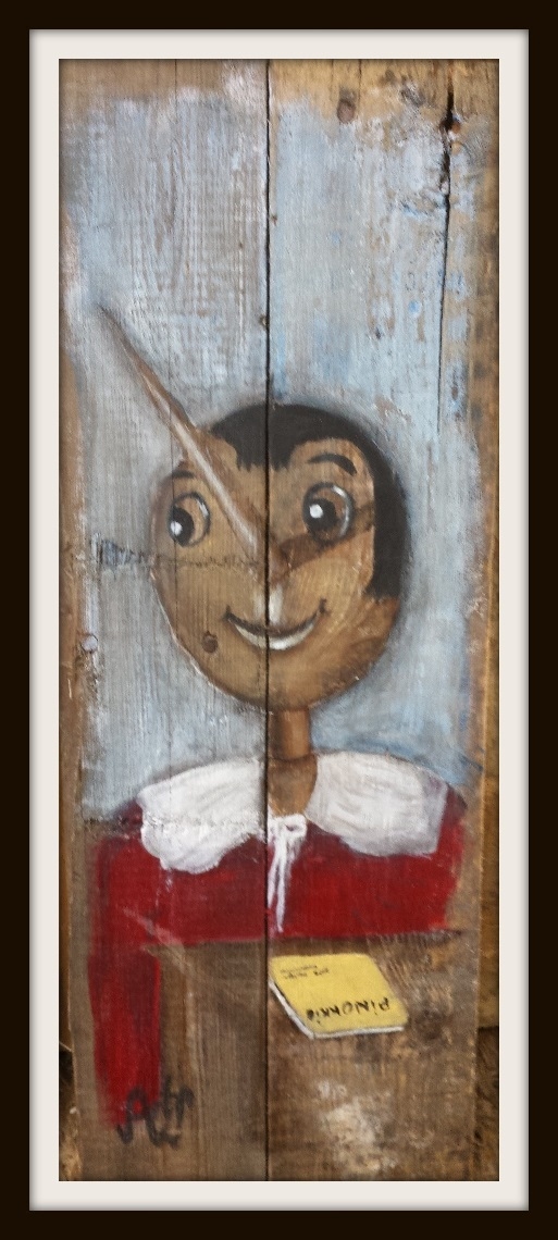 Pinokkio. Acryl op sloophout. 50*20 cm