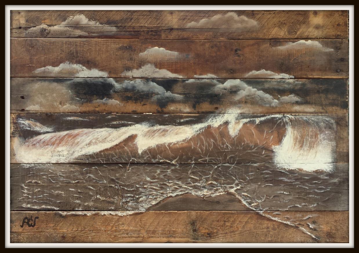 'Waves' acryl op sloophout. afm 100*71 cm