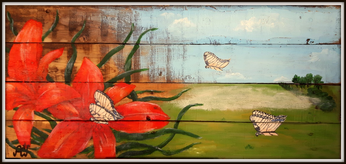 Butterflies, acryl op oud hout. Afm. 40*90 cm