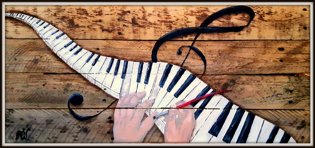 Finally, I play piano. Acryl op oud hout. Afm 40*90 cm