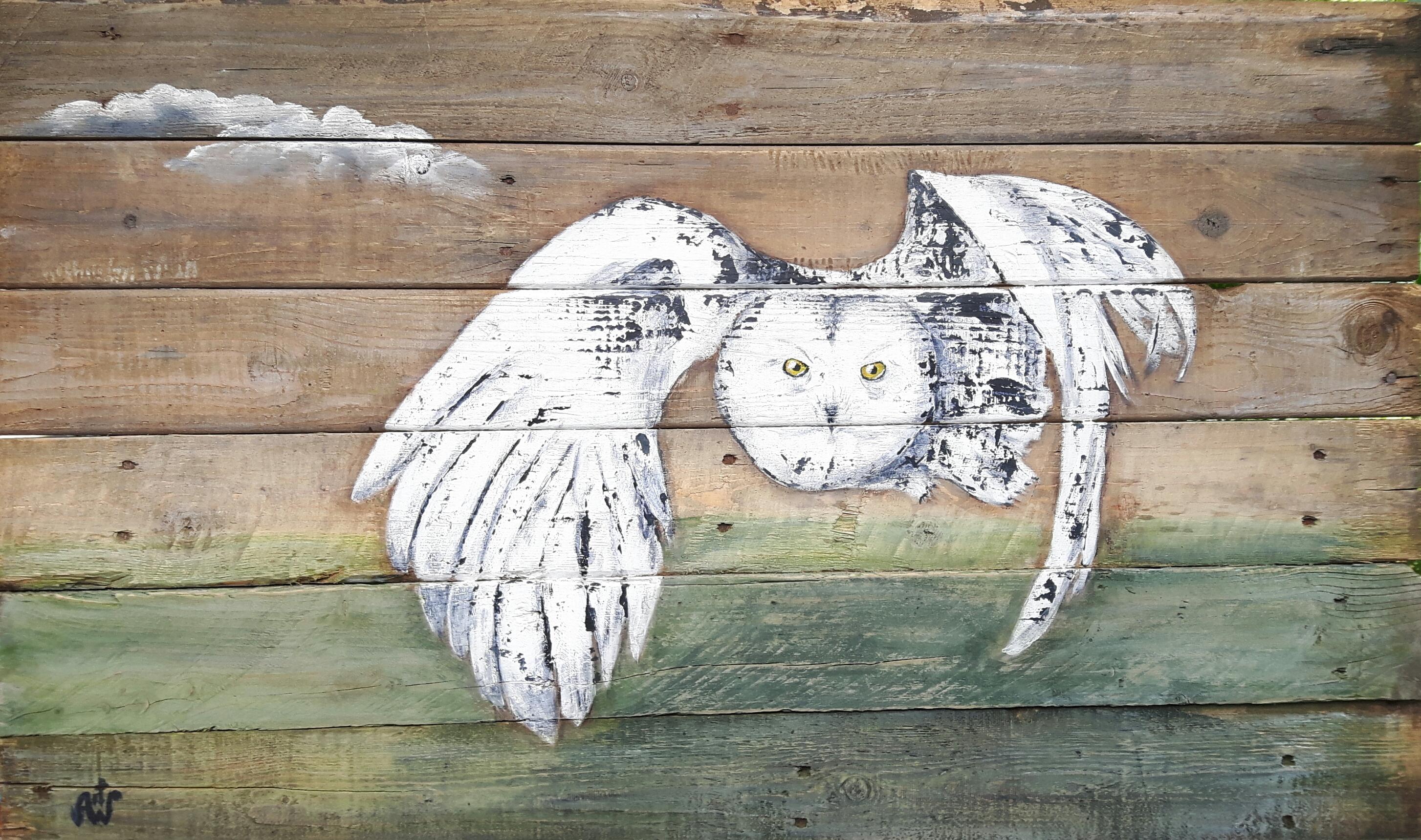 Sneeuwuil. Acryl op hout. 100*60 cm